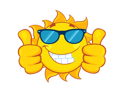Smiling Sun With Sunglasses Giving A Double Thumbs Up by Hit Toon.