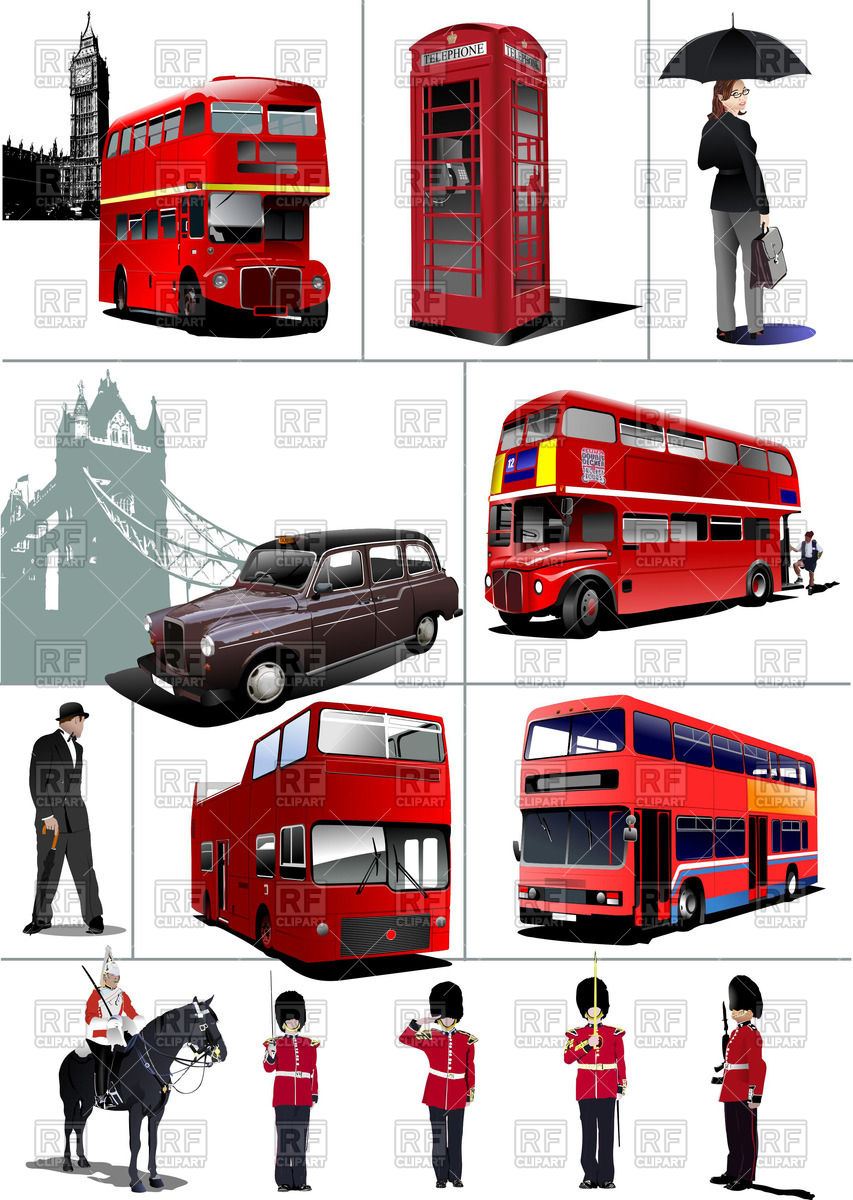 London sights: beefeaters, double decker bus, call.