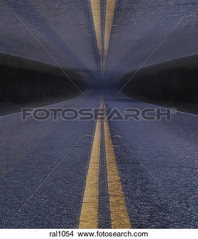 Stock Photo of Image looking down the center double yellow line of.