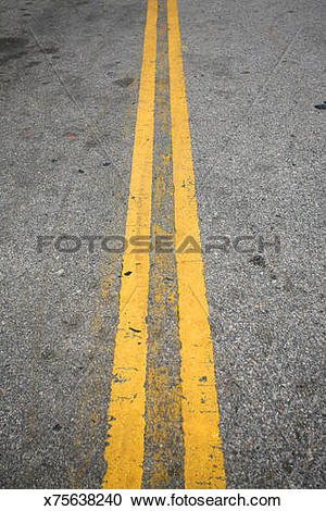 Stock Photography of Double Yellow Line x75638240.