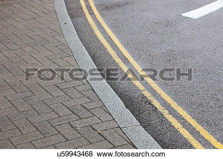 Pictures of Double yellow line on street u59943468.