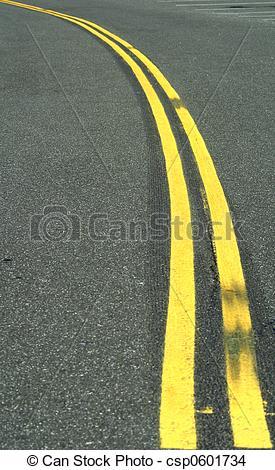 Stock Photo of double yellow line.