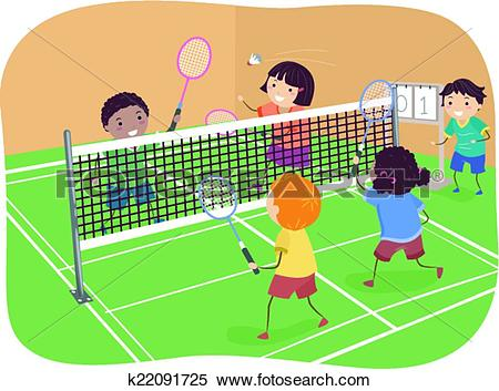 Clipart of Badminton Doubles k22091725.