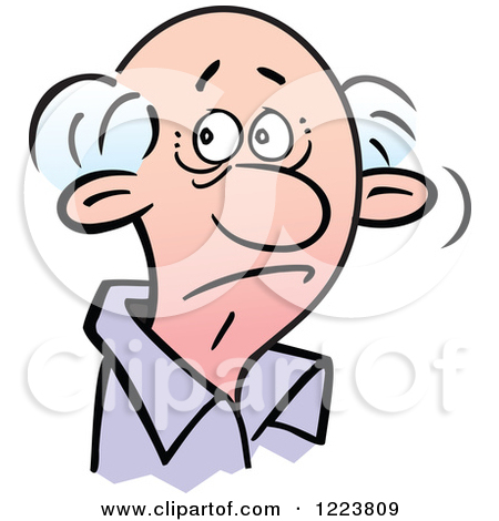 Clipart of a Senor Man with a Doubtful Expression.