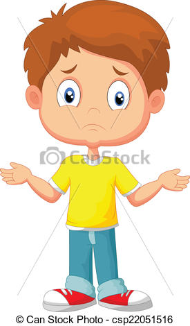 Vector Clip Art of Doubtful young kid gesturing with h.