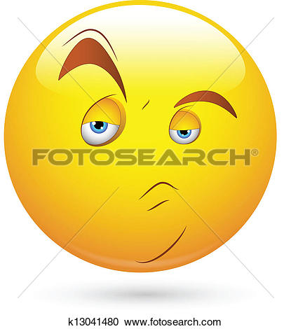 Clipart of Doubtful Smiley Face k13041480.