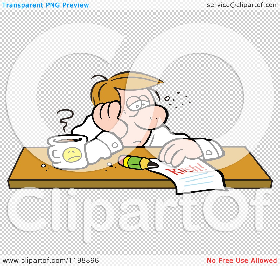 Cartoon of an Exhausted Businessman Doubtful of Making His.