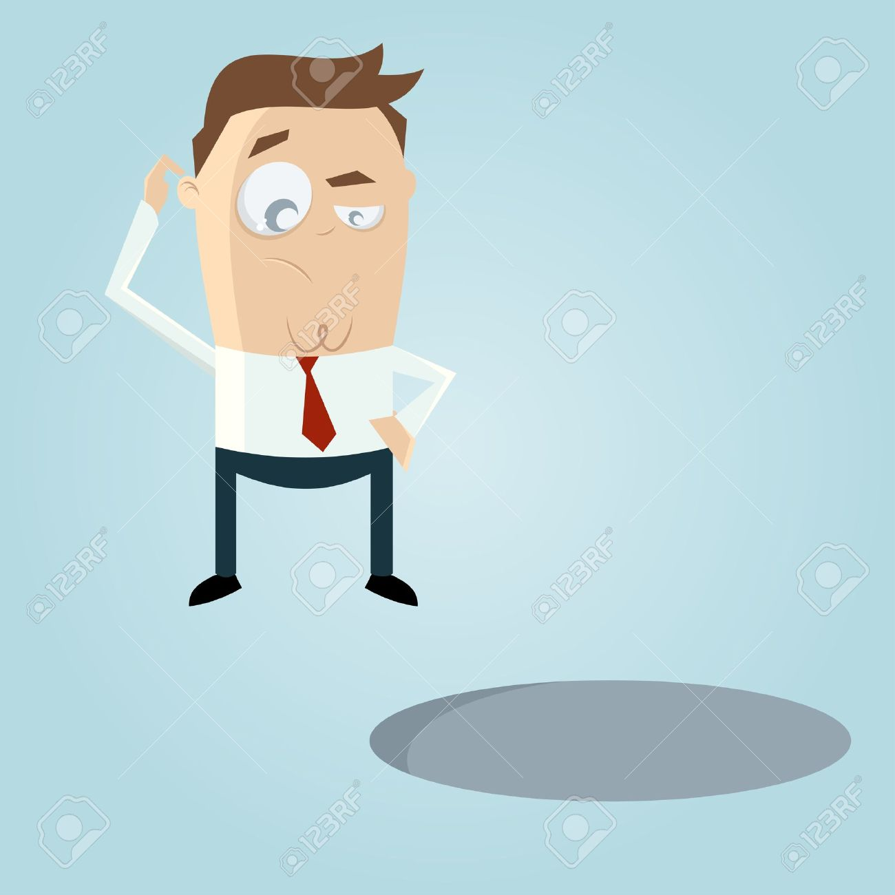 Doubtful Cartoon Man Looking In A Hole Royalty Free Cliparts.