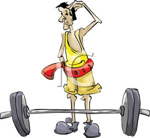 Colorful Cartoon of a Weight Lifter Scratching His Head In Doubt.