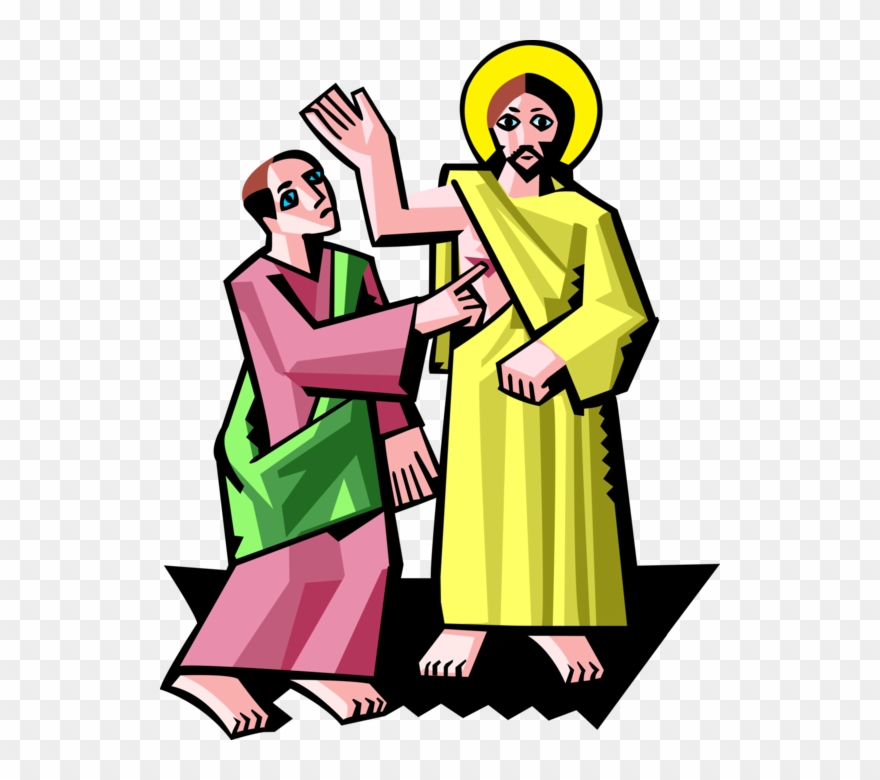 Christ With Doubting Thomas Vector Image Illustration.