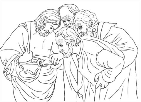 Doubting Thomas coloring page.