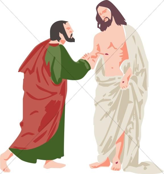 Doubting Thomas and Jesus.