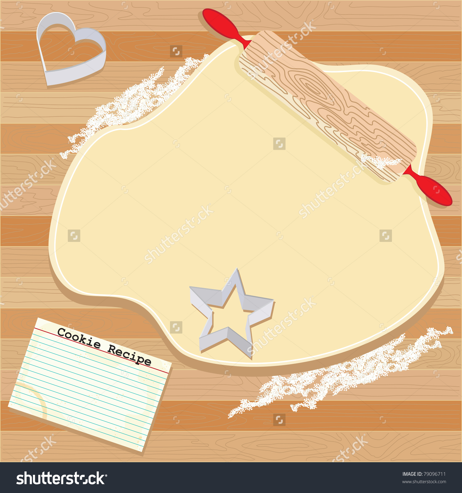 Cookie Party Invitation Dough Rolling Pin Stock Vector 79096711.