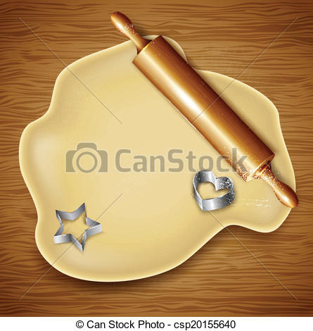 EPS Vector of Dough, rolling pin, cookie cutters on the wood.