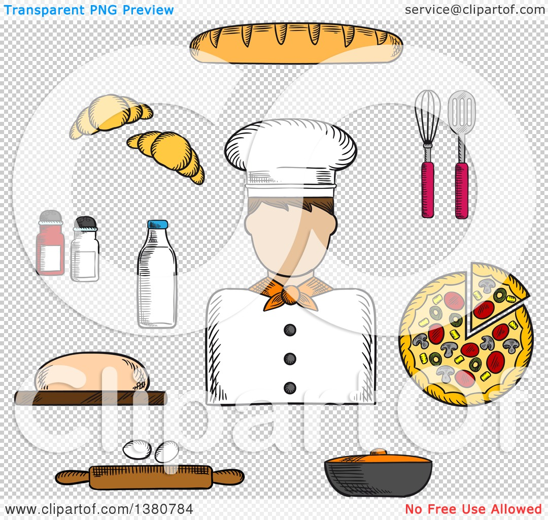 Clipart of a Sketched Baker, Pizza and Baguette, Croissant and.