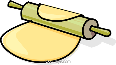 rolling pin and dough Royalty Free Vector Clip Art illustration.