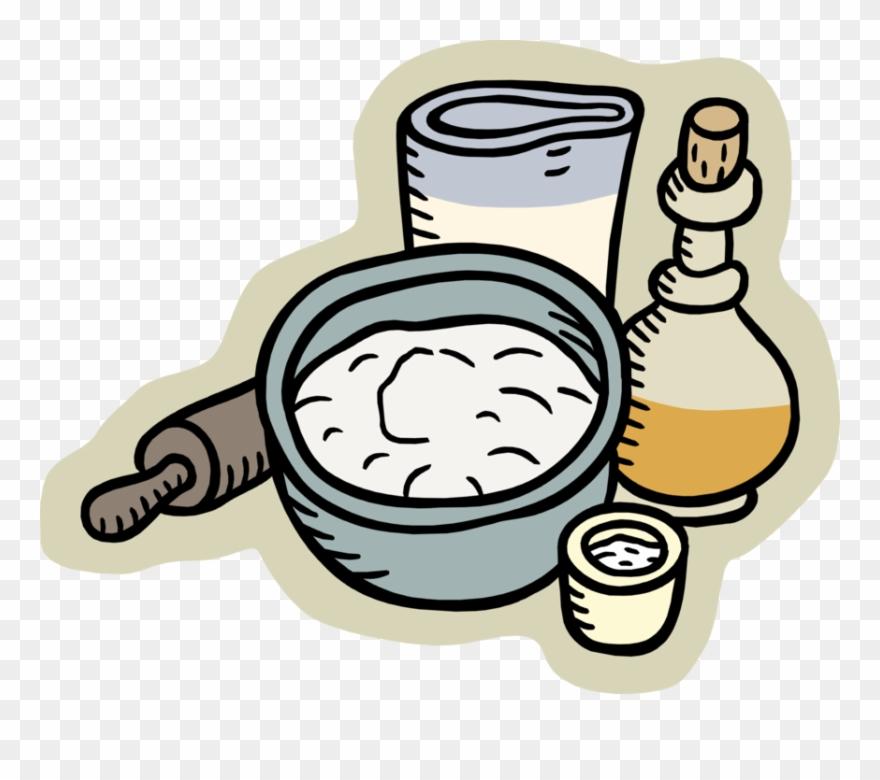 Vector Illustration Of Baking Flour Dough Batter With.