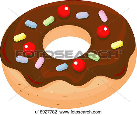 Clipart of dessert, bread, snack, cuisine, doughnut, bakery, food.
