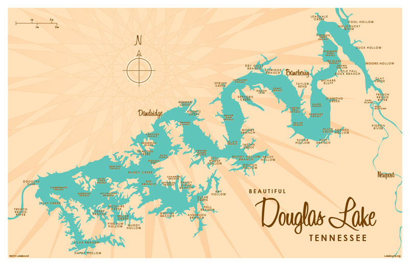 Douglas Lake TN Map Print by LakeboundShop on Etsy.