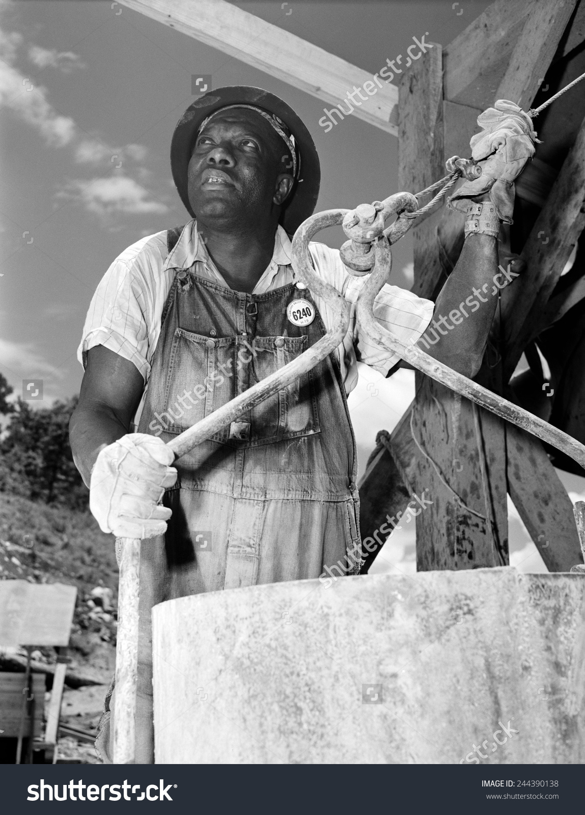 African American Construction Worker Douglas Dam Stock Photo.