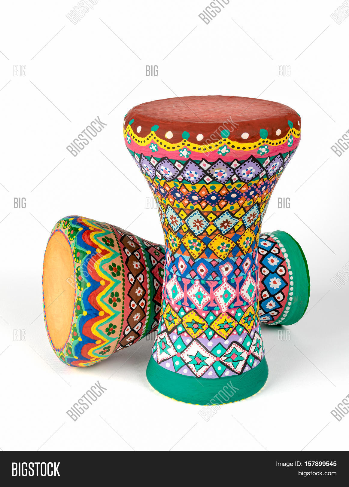 Colorful painted pottery goblet drums (chalice drum, darabuka.