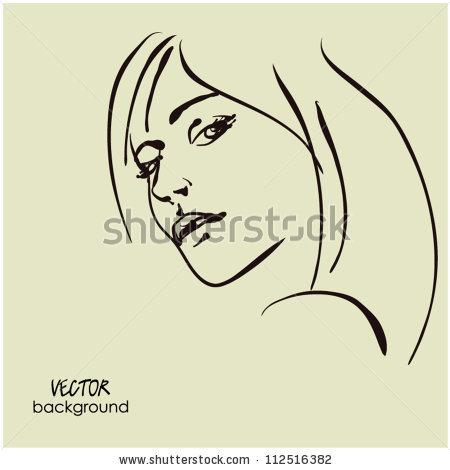 Art Sketching Vector Dour Girl Face Symbols Vector.