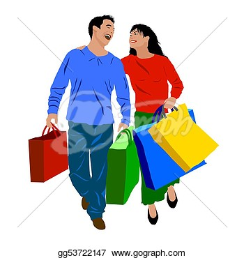 People Shopping Clipart.