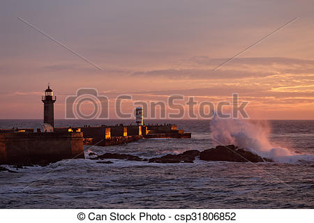 Stock Images of Douro river mouth at orange dusk.