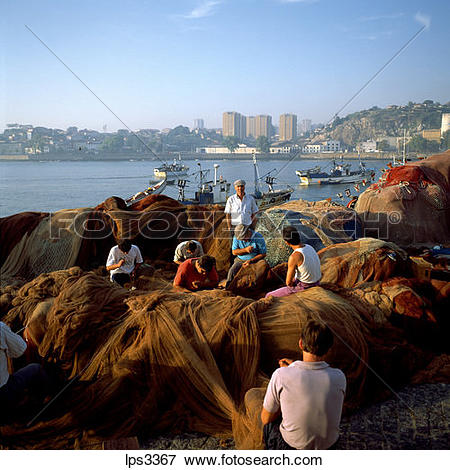 Picture of 69 Portugal Portoafurada District Fishermen Mending.