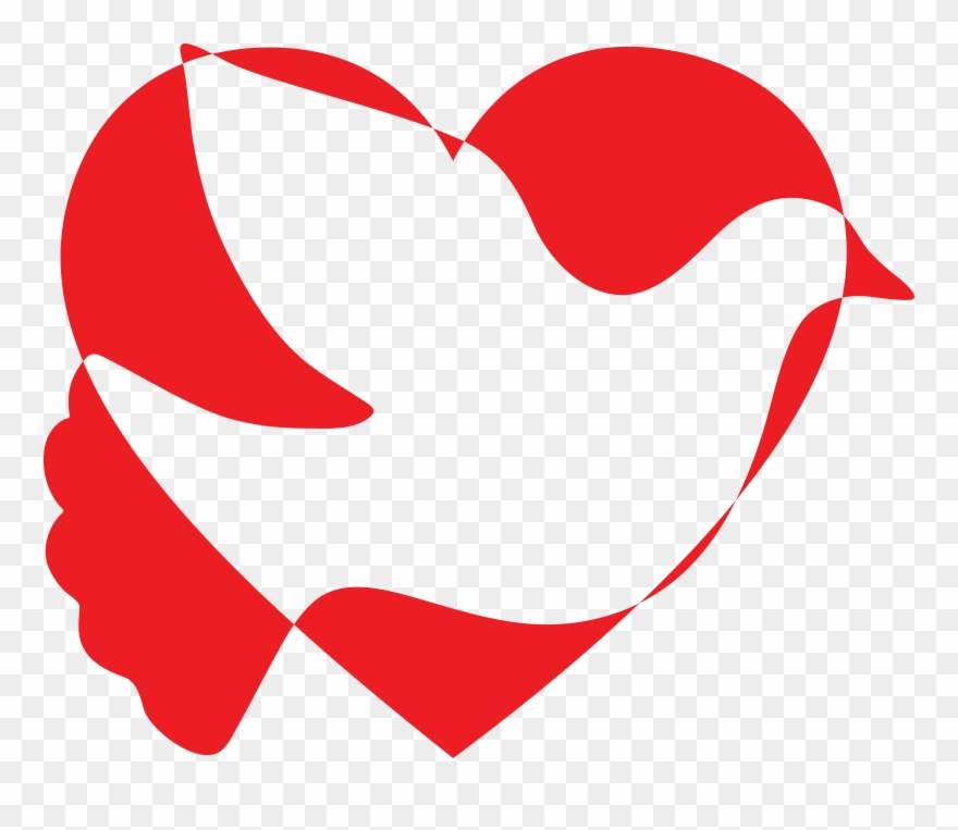 Free Clipart Of A Silhouetted Dove Of Peace And Heart.