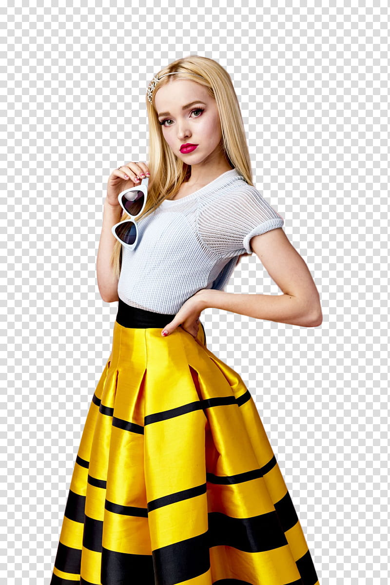 Dove Cameron, woman holding sunglasses transparent background PNG.