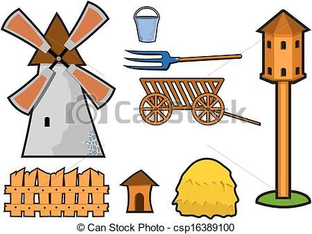 Vector Clipart of windmill with dovecote fence and other things.