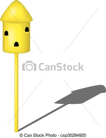 Vector Illustration of Dovecote in yellow design with shadow on.