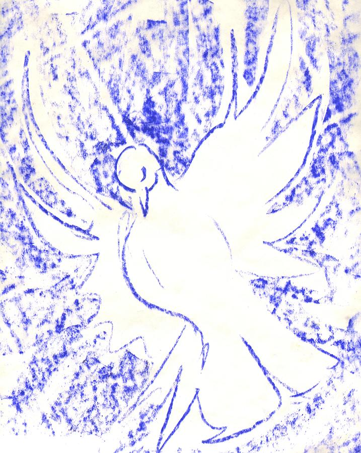 Dove Grid Drawing by Sara Bell.