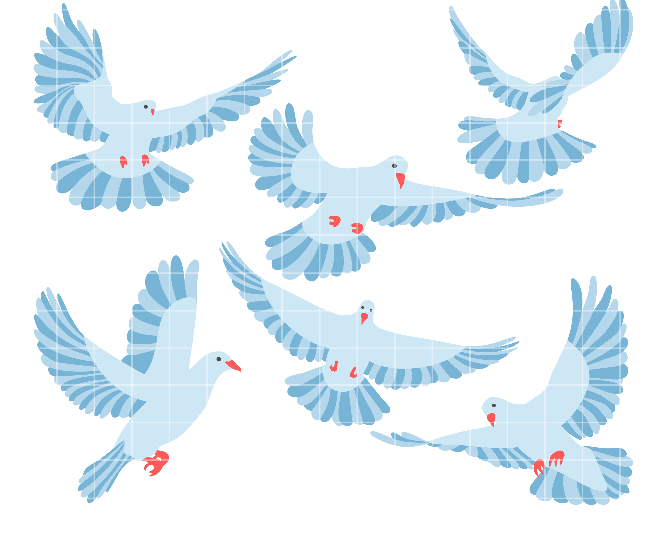 Flying Doves Set Semi Exclusive Clip Art Set For Digitizing and.