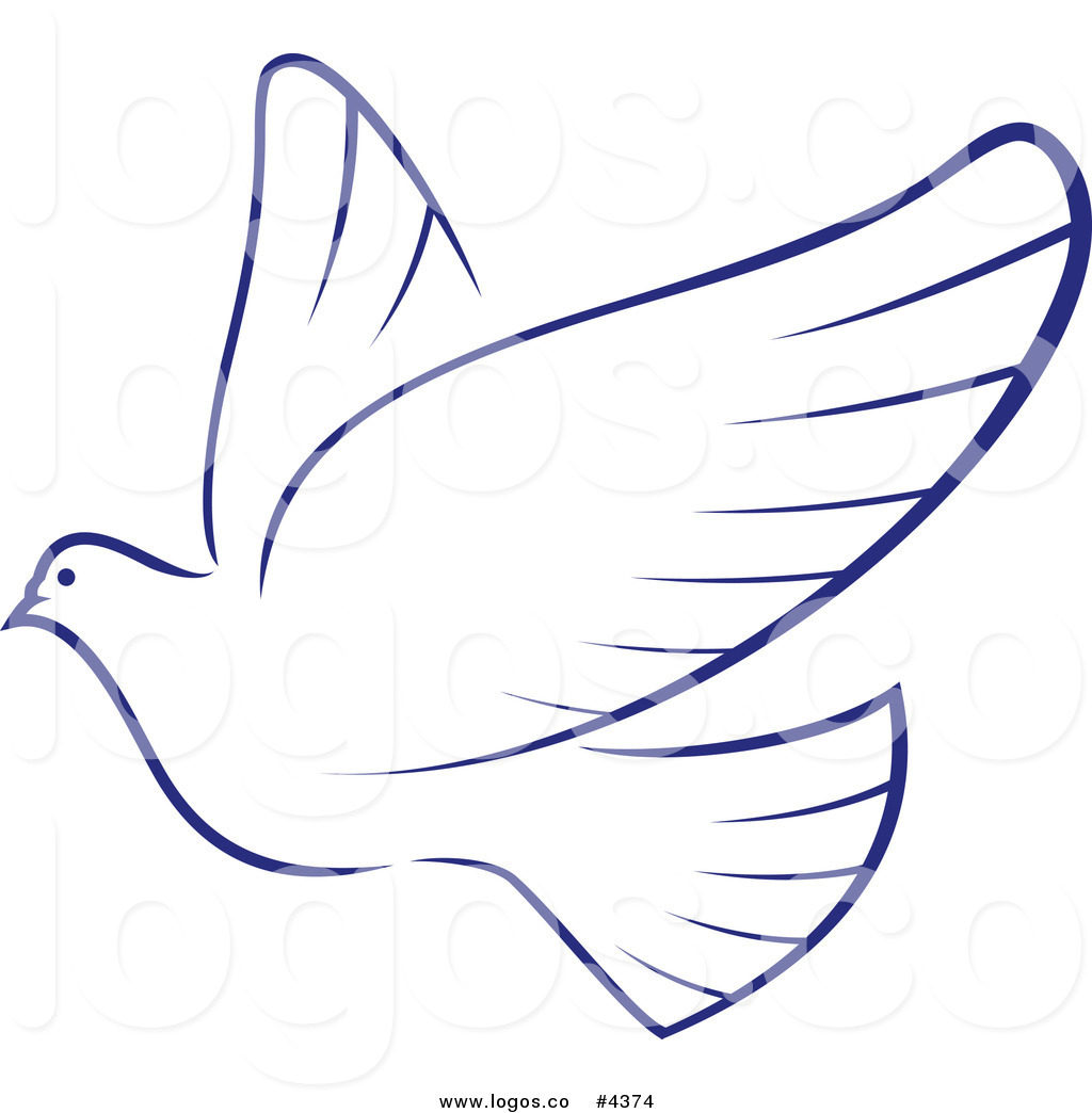 Royalty Free Blue and White Dove Logo by Vector Tradition SM.
