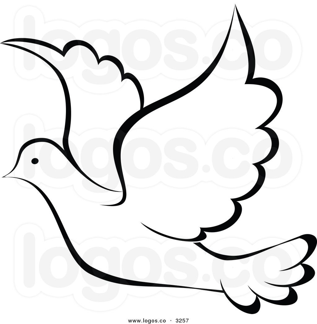 Royalty Free Vector of a Black and White Flying Dove Logo.