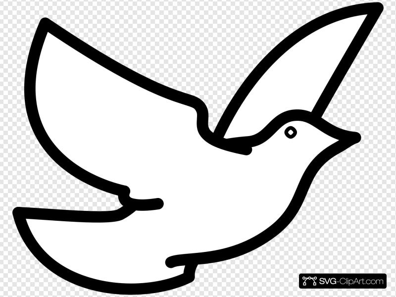 Flying Dove Outline Clip art, Icon and SVG.