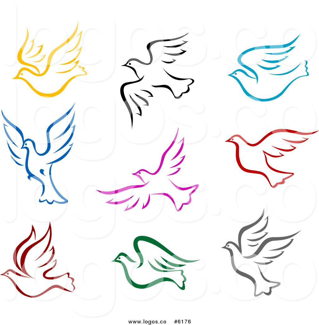 Clip art vector logos of colorful peace doves..