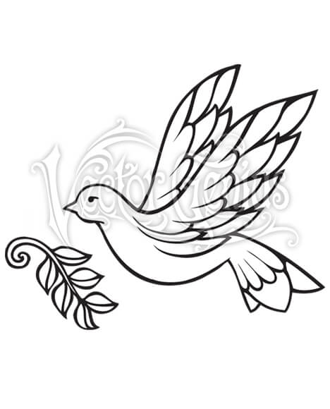 Dove with Olive Branch Clip Art.