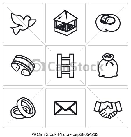Clip Art Vector of Vector Set of Dovecote Icons. Pigeon feeders.