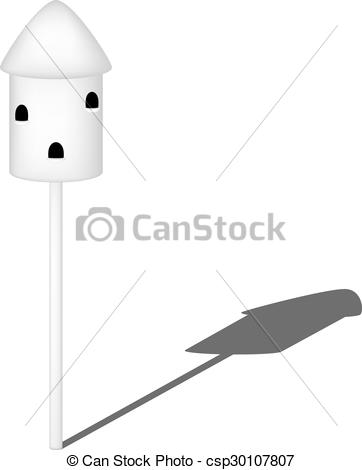 Vector Clipart of Dovecote in white design with shadow on white.
