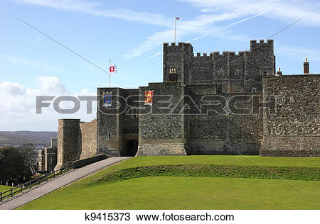 Stock Photo of Dover Castle in Kent county distant shot k9415373.