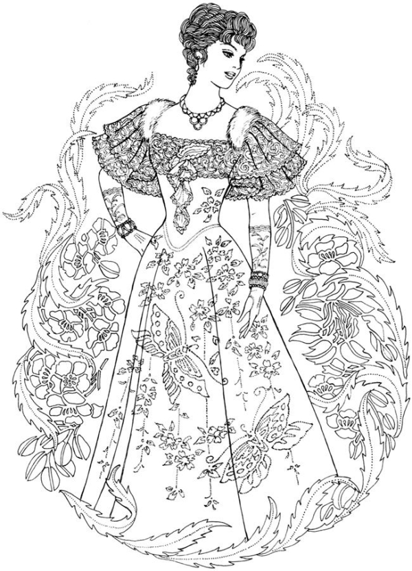 Creative Haven Art Nouveau Fashions Coloring Book.