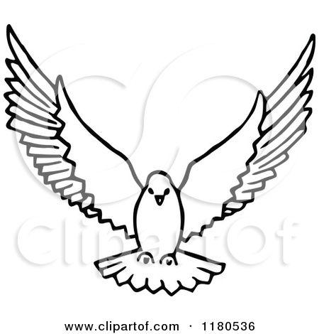 Clip art of dove in flight.