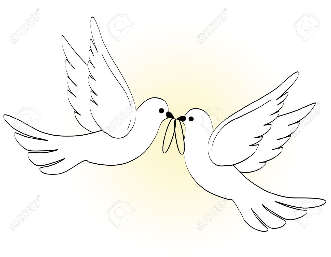Illustration of two white pigeons / doves carrying two wedding...