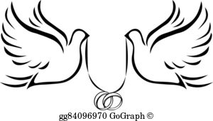Wedding Rings And Two Doves Clip Art.