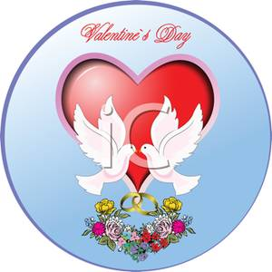 Two Doves In Front of Red Hearts with Wedding Rings and Flowers.