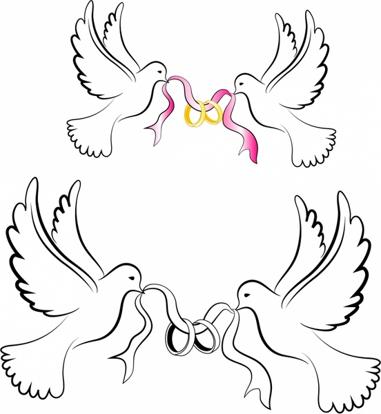 White Wedding Doves with Rings Free vector in Adobe Illustrator ai.