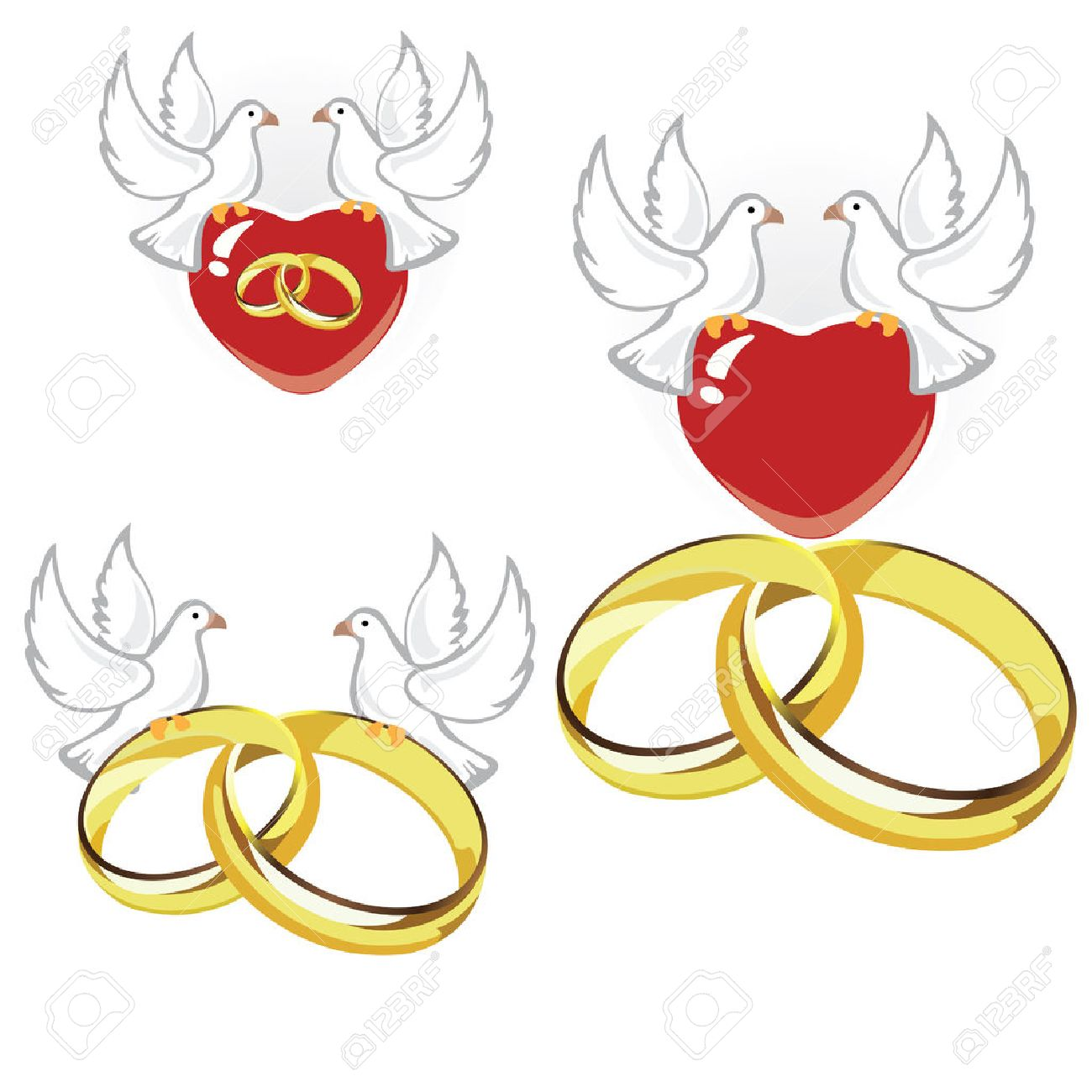 Wedding rings, hearts and doves.